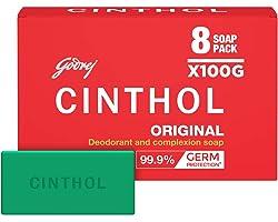Cinthol Original Bath Soap 99.9% Germ Protection, 100g (Pack of 8)