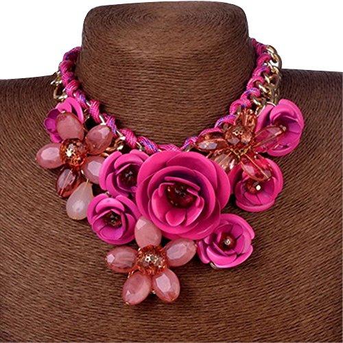 Contever® Mujer flor Colgante de Moda Artificial Cristalina Collar Gargantilla , Longitud: 45 cm - Rosa roja