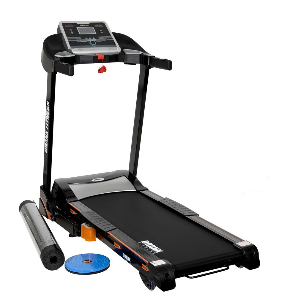 61Z1x3NqIRL - Branx Fitness Foldable 'Cardio Pro' Touchscreen Console Treadmill - 17.5km/h - 6hp - 0-20 Level Auto Incline - Body Fat Readout - Soft Drop System - Smart Deck Suspension Points