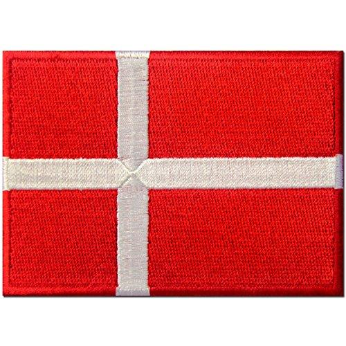 Dänemark Flagge Dänisches Nationales Emblem Bestickter Aufnäher zum Aufbügeln / Annähen (Dänische Flagge)