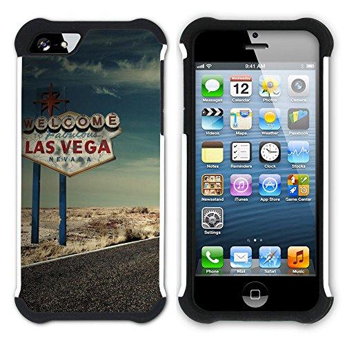 Graphic4You Las Vegas USA United States of America Postkarte Aussicht Hart + Weiche Kratzfeste Hülle Case Schale Tasche Schutzhülle für Apple iPhone SE / 5 / 5S Design #4