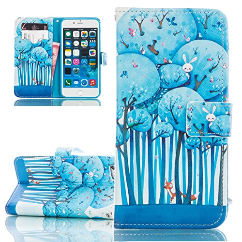 ISAKEN Custodia iPhone 6 Plus, Cover iPhone 6S Plus, Elegante borsa Custodia in Pelle Protettiva Flip Portafoglio Case Cover per Apple iPhone 6 Plus (6 5.5) / con Supporto di Stand / Carte Slot / Chi forest coniglio gufi uccellini