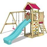 WICKEY Parque infantil de madera MultiFlyer con columpio y tobogán turquesa, Torre de escalada de exterior con arenero y esca