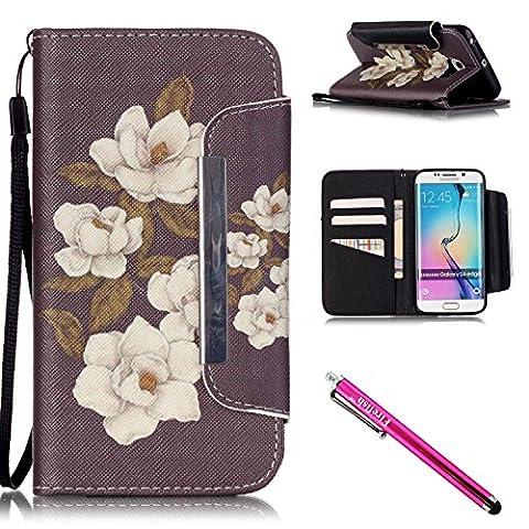 Galaxy S6 Edge Hülle, PU Leder Hülle für Ledertasche Schutzhülle Case[Stand Feature] Flip Case Cover Etui mit Karte Slots Hülle für Samsung Galaxy S6