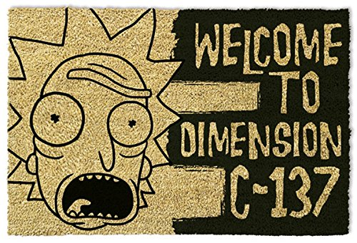 1art1® Rick Y Morty - Rick and Morty Dimension C-137 Black Felpudo Al