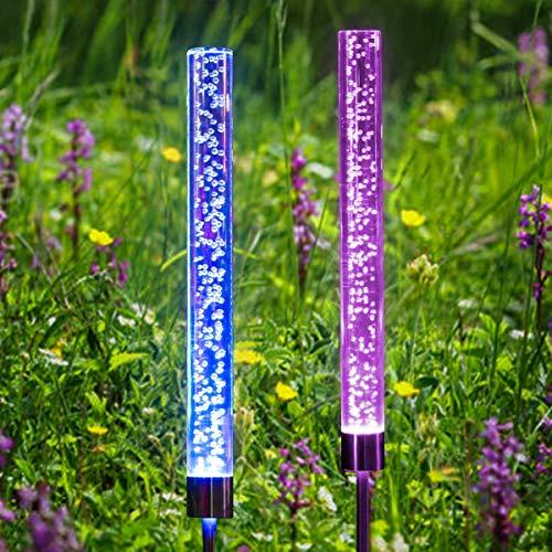 SanGlory 2 Stück Solarleuchte Garten, LED Solar Tube Lichter Acryl Blase Außenleuchte RGB Farbwechsel Solarlampen, Wasserdichte Garten Landschaftslichter für Terrasse Hinterhof Pathway Dekoration