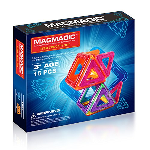 Magmagic Building Block Magnetic Toys, 15 Piece Supply Sets (6 Squares, 9 Triangles), Preschool Skills Educational Game Construction Stacking Sets