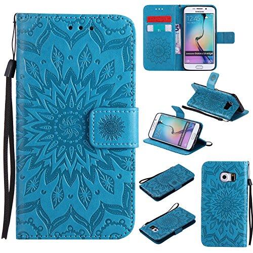 YHUISEN Galaxy S6 Edge Case, Sun Flower Druck Design PU Leder Flip Wallet Lanyard Schutzhülle mit Card Slot / Stand für Samsung Galaxy S6 Edge ( Color : Purple ) Blue