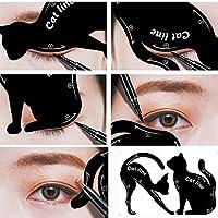 Gusspower 2pcs hojas gato negro delineador de ojos diseño de color gris sombra de ojos maquillaje delineador de ojos moldes plantilla para herramientas