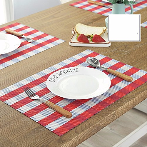 XXSZKAA Creative Blue Stripe Table À Manger Tapis Simple Table De Cuisine Mat Européen Rectangulaire Isolé Coussin D'Étanchéité PVC, Rouge 4 Pièces, 45 * 30 Cm