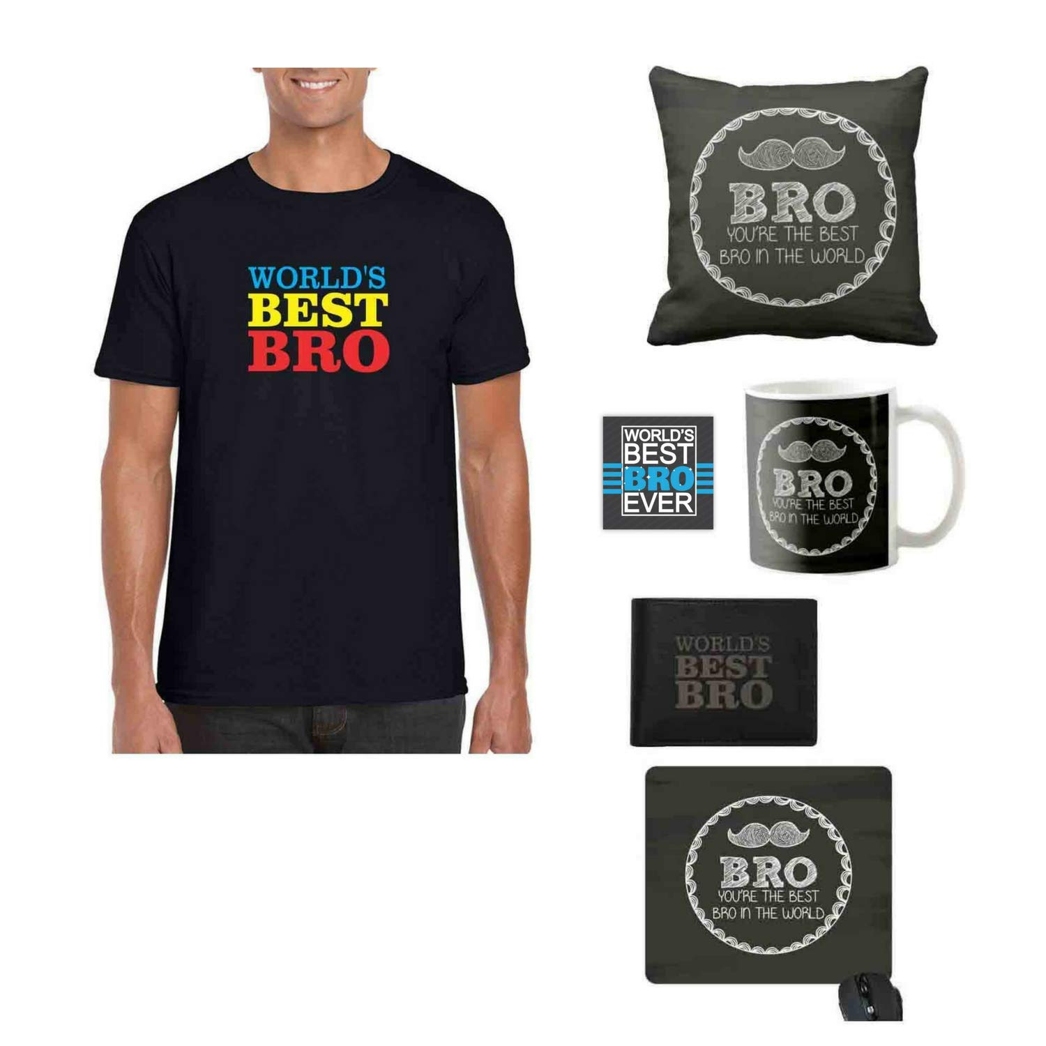 YaYa cafe Bhaidooj Gifts for Brother, Worlds Best Brother T-Shirt, Mug, Coaster, Mouse Pad, Cushion Cover, Black President Mens Leather Wallet, Set of 6