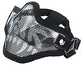 Coxeer Mesh Gesicht Schädel Maske Airsoft Halbmaske Ausrüstung Stahl Airsoft Masken (Black and White)