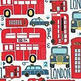 Baumwollstoff - Typisch London - die roten