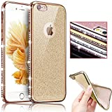 Sunroyal® Custodia per Apple iphone 6 6S 4.7 pollici in Gel TPU Silicone Cover e Cristallo Bling Strass - UltraSlim Placcatura Soft Morbido Bumper Case Cover Resistente Skin Protection Shell, Diamante Oro