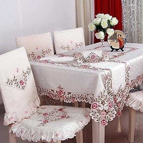 Taboeoe Nappe En Tissu, L'Art, De Simplicité Moderne, Accueil Des Tables, Tables Et Chaises, Nappes Brodées,Rose,140*200 Ellipse