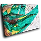 AB1202A gerahmte Leinwanddruck Bunte Wand-Kunst - Jamaika-Flagge grün - modernes abstraktes Wohnzimmer Schlafzimmer Bild Stück Wohnkultur Interior Design Einfach Hang Guide (30x20cm)