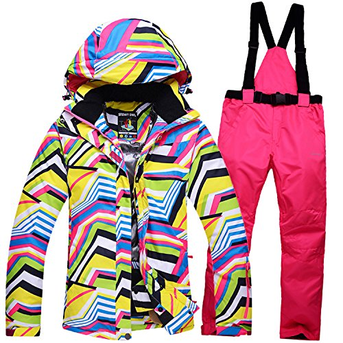 HUA&X Frauen Mantel ski Jacke hose Anzug wasserdichte Regenjacke warme zipper Hosen verdickt, M, Rosa