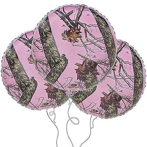 "Pink Mossy Oak 18"" Round Mylar Balloon 3pk by Anagram"