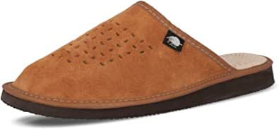 FOOTHUGS Men's Natural Leather Mule Slippers with Memory Foam Health Insole, Regular & Wide Fit