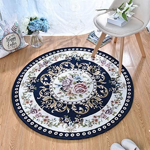 Liveinu tappeti salotto tondo soggiorno modern design tappeto per salotto arredamento antiscivolo lavabili tappeto classico ornamenti blu intenso 90cm
