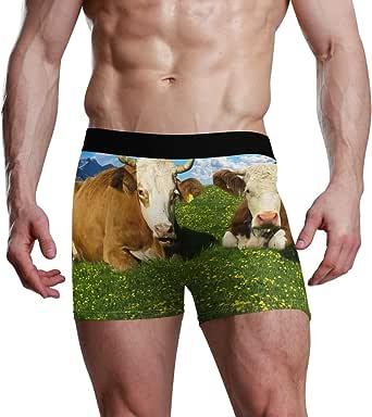 MONTOJ - Boxer da uomo con immagine di mucche su erba ispirata allo sport