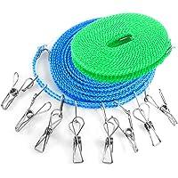 YuCool - 2 cordes à linges avec 8 pinces à linge - 4,9 et 7,9 m - Résistantes au vent - Pour l'extérieur, l'intérieur…