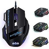 Ratón Gaming, iAmotus Ratón para Juegos 7200 dpi Ajustable Gaming Mouse Óptico con Cable y 7 Botón, Ratón Ergonómico Retroilu