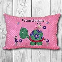 Dekokissen Namenskissen bestickt mit Wunschname- versch. Farben - Motiv: Schildkröte Blumenwiese
