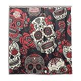 jstel Decor Duschvorhang Colorful Sugar Skull mit Blumen Print 100% Polyester Stoff 167,6x 182,9cm für Home Badezimmer Deko Dusche Bad Vorhänge mit Kunststoff Haken