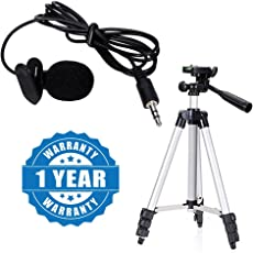 Drumstone Microphone Mini Hands-free Clip On Lapel Mic for Cameras Recorders with Tripod (Lapel.Microphone+3110.Stand, Multicolour)
