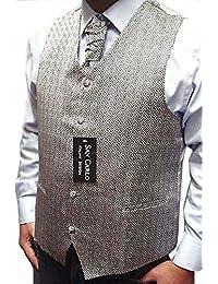 Hommes Qualité motif géométrique noces d'argent gilet ensemble (ref:silver geometric waistcoat)