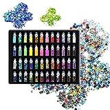 Laconile 48colori polvere glitter paillettes viso corpo capelli unghie glitter per fango e l' arte e artigianato glitter