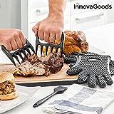 InnovaGoods Krallen Küche für Das Zerkleinern Fleisch mit Handschuhen und Pinsel, ABS und Silikon, Schwarz, 11x 11x 2cm