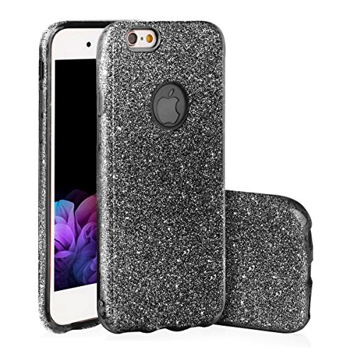 EGO ® Glitzer Schutzhülle + Panzerglas für iPhone 6 6S, Schwarz Back Case Bumper Glänzend Transparente Luxus Bumper TPU Bling Weiche Glamour Handy Cover Silikon Glitter Lipgloss Schwarz + Glas