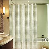 3D Shower Curtain, Volador Heavy Duty Shower Curtain 72x72 Inch Waterproof Bathroom Curtain Water Cube Mildew Proof Curtain with Curtain Hooks