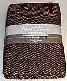 100% coton, motif chevrons Marron chocolat Beige &Factory2u Couvre-convertible 3 places 225 x 250 cm