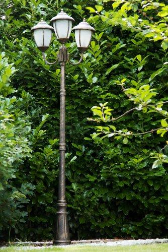 Lampione da giardino Classico Lampada a stelo con 3 lanterne - oro marrone
