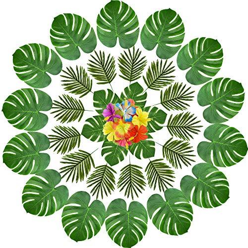 kuuqa 60PCS Tropische Blätter Luau Party Dekorationen Künstliche Tropische Palme Fensterblätter Blätter und Hibiskus Blumen für Hawaiian Aloha Jungle Safari Thema Geburtstag Party Dekoration Supplies