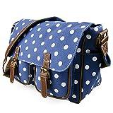 Miss Lulu Womens Canvas Satchel Bag Polka Dot Navy L1157D2 NY