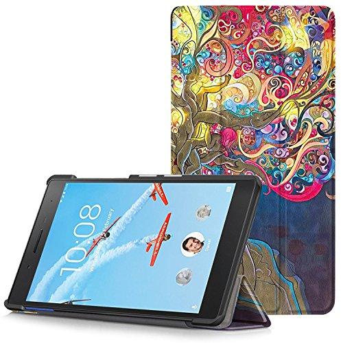 Lenovo Tab 7 Essential Hülle - Ultra Dünn und Leicht PU Leder Schutzhülle mit Standfunktion für Lenovo Tab 7 Essential 17,78 cm (7 Zoll) Tablet-PC, Magischer Baum (Nicht für Lenovo Tab3 7 Essential)