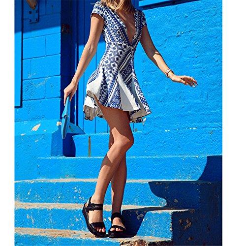 Femmes V profond manteau col manches imprimé A-ligne Beach Party Clubwear Robe Midi impression