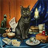 Luna, the Fortune Teller's Cat with Tarot Cards & Crystal Ball, Greeting Card by Geoff Tristram, Greetings Card Size Approx. 140 x 140mm