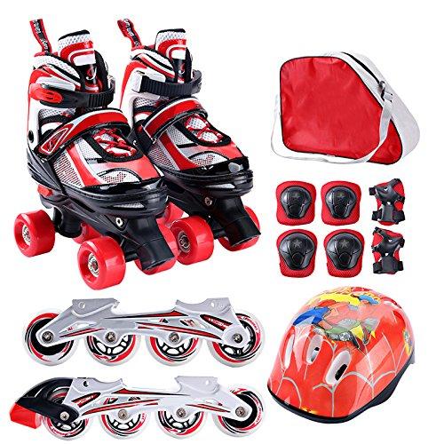 ZCRFY Zweireihige Inline Skates 2 in 1 Einstellbare Rollschuhe Set Kinder Rollerblades Für Anfänger Kleinkinder Kinder Jungen Mädchen Roller Blades Schlittschuh,Red-M