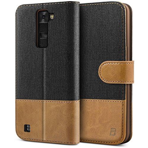 BEZ® Hülle für LG K8 Hülle, Handyhülle Kompatibel für LG K8, Handytasche Schutzhülle Tasche [Stoff und PU Leder] mit Kreditkartenhaltern, Schwarz