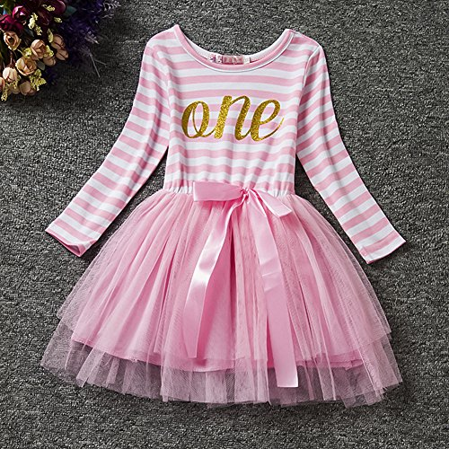 IWEMEK Baby Girls Toddler Kids Princess Long Sleeve Dress 1st/2nd/3rd Birthday Cake Smash Shiny Printed Striped Tulle Tutu Dress Party Outfit