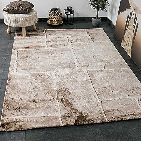 Vimoda tibet7413 Tapis classique de salon, tissage serré, aspect mur de pierre, top qualité, beige/ marron, Beige / Braun, 160 x 230 cm