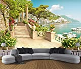 Yosot Custom Tapete Garten Balkon Treppe Seeblick 3D Wohnzimmer Schlafzimmer Tv Sofa Hintergrund Wandbild 3D Tapete -300cmx210cm