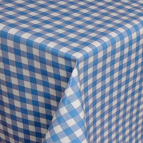 Wachstuch Tischdecke Gartentischdecke mit Fleecerücken Gartentischdecke, Pflegeleicht Schmutzabweisend Abwaschbar Karos Weiss Blau 110x 140 cm - Größe wählbar