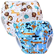 Teamoy Reusable Swim Nappy(2 Packs) for Baby Boys& Girls, Comfortable, Washable and Adjustable, Ideal for Swimming Lessons/Holiday, Aircraft+ Fat Smile