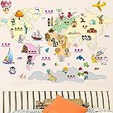 Colorido Mapa del Mundo Pegatinas de Pared Ve A la Aventura y Mira Los Monumentos Famosos, Los Animales Adhesivos de Pared de Vinilo Decorativos Removibles para Cuarto de la Guardería, Dormitorio de Los Niños, Mural de la Sala de Juegos para Niños